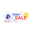 cyber sale up to 50 off for online shopping vector image
