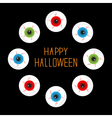 Eyeballs with bloody streaks Round frame on black vector image