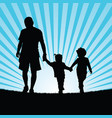 family walking in nature silhouette color vector image vector image