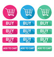 flat design button buy online shopping cart vector image vector image
