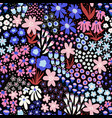 flower field blue pink white colors on black vector image vector image