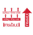 fragile this way up handle with care grungy box vector image vector image