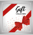 gift voucher card with ribbon red vector image vector image