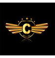 Letter C winged crests logo Alphabet logotype vector image