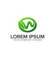 letter w leaf logo design concept template fully vector image vector image