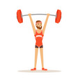 male athlete character holding barbell on the vector image vector image