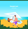 man applying suntan cream to his african american vector image vector image