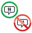 Man woman message permission signs vector image vector image
