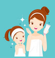 mother and daughter happy with clean faces vector image vector image
