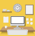 office workspace flat design vector image vector image
