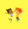 pair of multiracial kids boy and girl happily vector image vector image