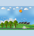 paper art style of landscape and people in city vector image vector image