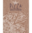 Poster pizza wood brown vector image vector image