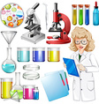 Scientist with science equipment vector image vector image