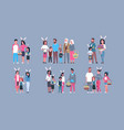 set of families on happy easter holiday parents vector image