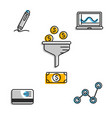 set of financial icons vector image vector image