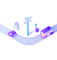 smart car and public transport on street road vector image