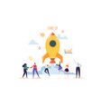startup concept with jumping happy characters vector image