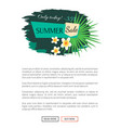 summer sale poster with tropical vanilla flowers vector image vector image