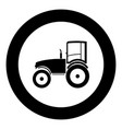 tractor icon black color in circle vector image