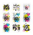 typography colorful slogan girl power text vector image