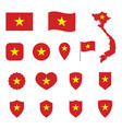 vietnam flag icon set flag socialist vector image