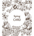 vintage card with flowers lineart vector image