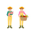 woman with basket and pig vector image vector image