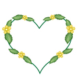 Yellow Simpor Flowers in A Heart Shape vector image vector image