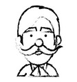 young man with mustache head avatar vector image vector image
