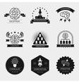 brain logo set and creativity badges vector image
