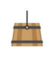 bucket wooden milk wood icon rustic rural white vector image