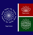 set logos lotus yoga center vector image
