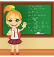 girl in a school uniform near blackboard vector image