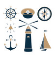 set of marine objects vector image