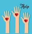 people hands with heart help vector image