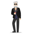 a hipster man with gray hair and a beard vector image vector image