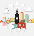 Abstract Paper Cut Flat Design Town with Tow vector image vector image