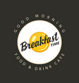 banner for breakfast time with fried egg ona plate vector image vector image