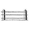barbed wire fence gates vintage engraving vector image