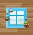 blue window of a wood house front view vector image