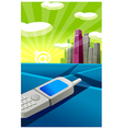 Cell phone city skyline vector image vector image
