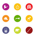 chase icons set flat style vector image vector image