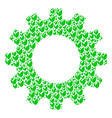cogwheel mosaic of floral sprout icons vector image