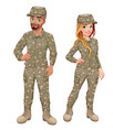couple male and female soldiers vector image