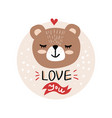cute cartoon bear face vector image vector image