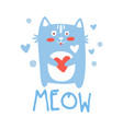 cute cartoon cat with heart meow colorful hand vector image vector image