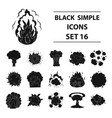 explosions set icons in black style big vector image vector image