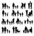 family with children set silhouette in black vector image vector image