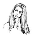 fashion sketch of a young beautiful woman in ink vector image